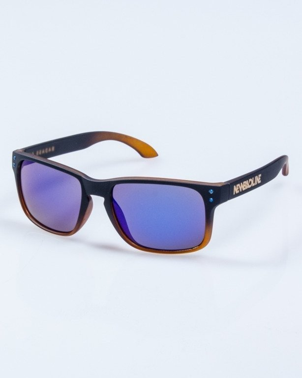 OKULARY FREESTYLE BLACK RUBBER BLUE MIRROR 653