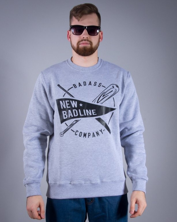 NEW BAD LINE BLUZA BEZ KAPTURA BASEBALL MELANGE