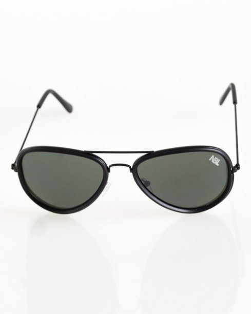 OKULARY AVIATOR BLACK MAT DARK GREEN 058