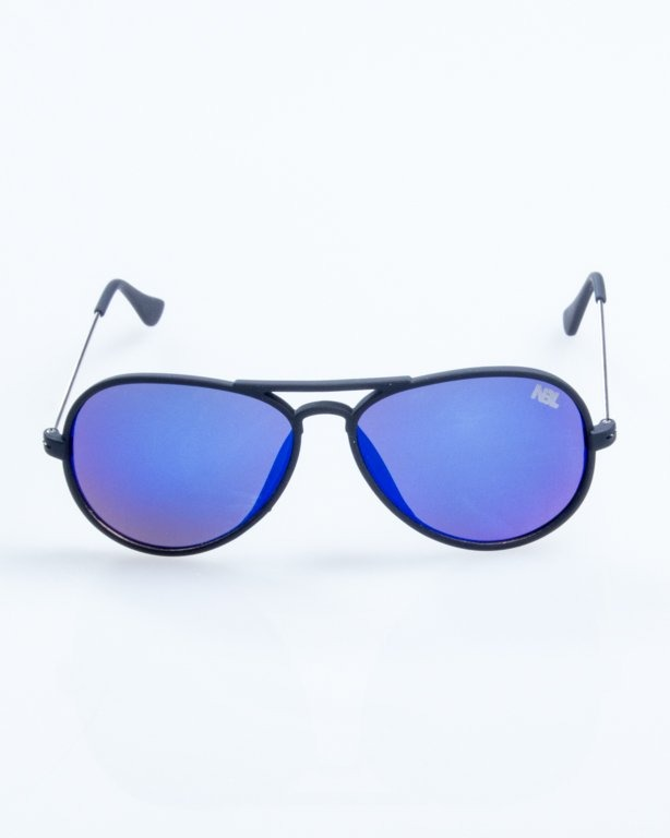 OKULARY AVIATOR TRAVEL BLACK RUBBER BLUE MIRROR 792