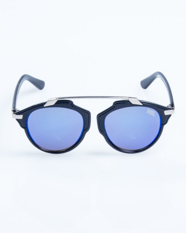 OKULARY BAD BLACK-SILVER BLUE MIRROR 816