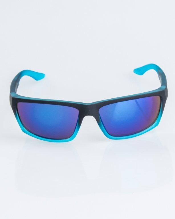 OKULARY BIKER SPORT BLACK-BLUE RUUBBER BLUE MIRROR 1246