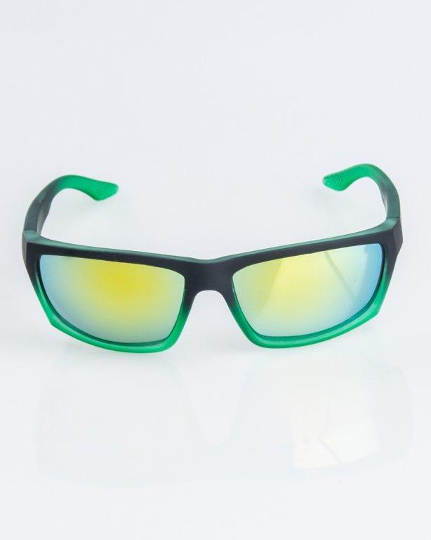 OKULARY BIKER SPORT BLACK-GREEN RUBBER YELLOW MIRROR 1245
