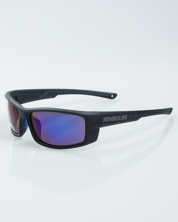 OKULARY BLADE BLACK RUBBER BLUE MIRROR  1015