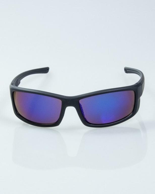 OKULARY BLADE BLACK RUBBER BLUE MIRROR  1015