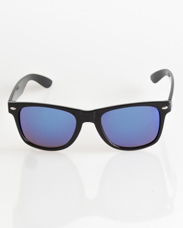 OKULARY CLASSIC BLACK FLASH BLUE MIRROR 029