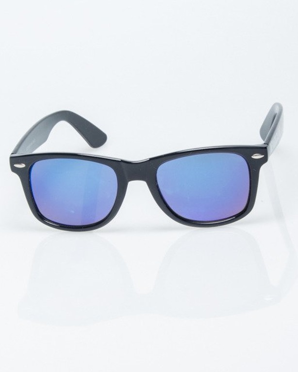 OKULARY CLASSIC BLACK FLASH BLUE MIRROR 1216