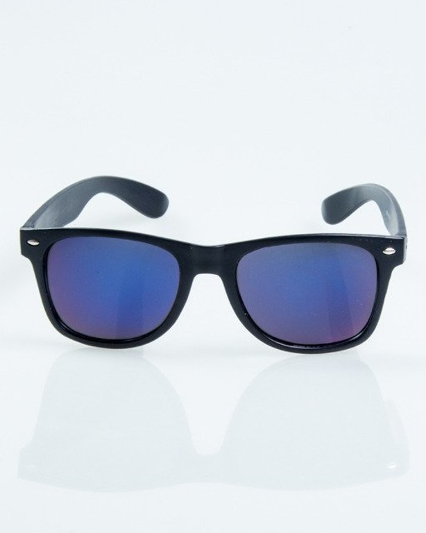 OKULARY CLASSIC BLACK MAT BLUE MIRROR 1035