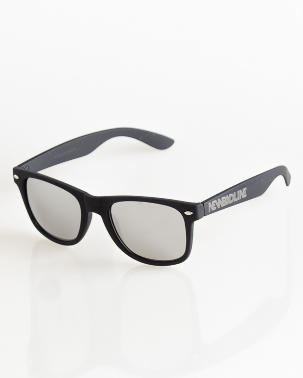 OKULARY CLASSIC BLACK RUBBER SILVER MIRROR 037