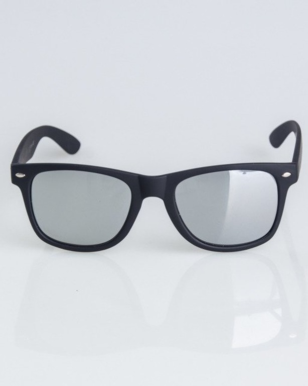 OKULARY CLASSIC BLACK RUBBER SILVER MIRROR 1308
