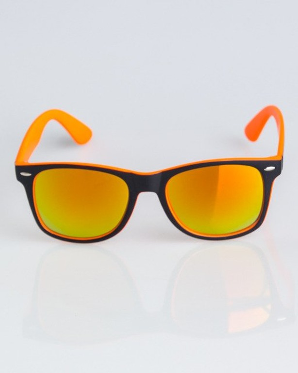 OKULARY CLASSIC INSIDE BLACK-ORANGE MAT RED MIRROR 1333