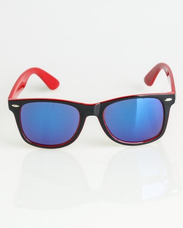OKULARY CLASSIC INSIDE BLACK-RED FLASH BLUE MIRROR 1361