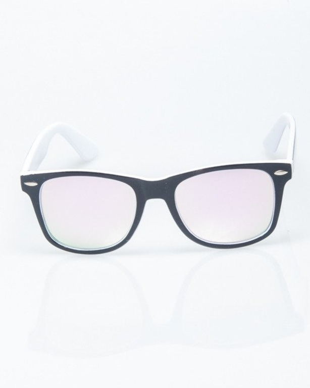 OKULARY CLASSIC INSIDE BLACK-WHITE FLASH PINK MIRROR 1207