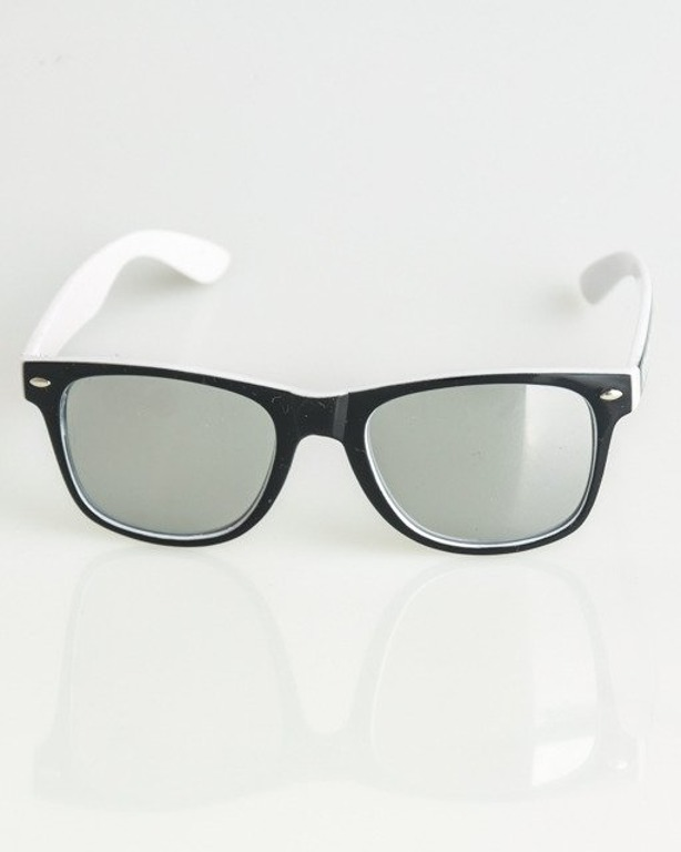 OKULARY CLASSIC INSIDE BLACK-WHTE FLASH SILVER MIRROR 1374