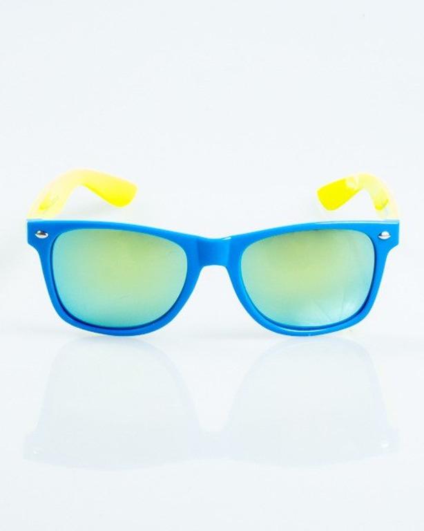 OKULARY CLASSIC INSIDE BLUE-YELLOW FLASH YELLOW MIRROR 1045