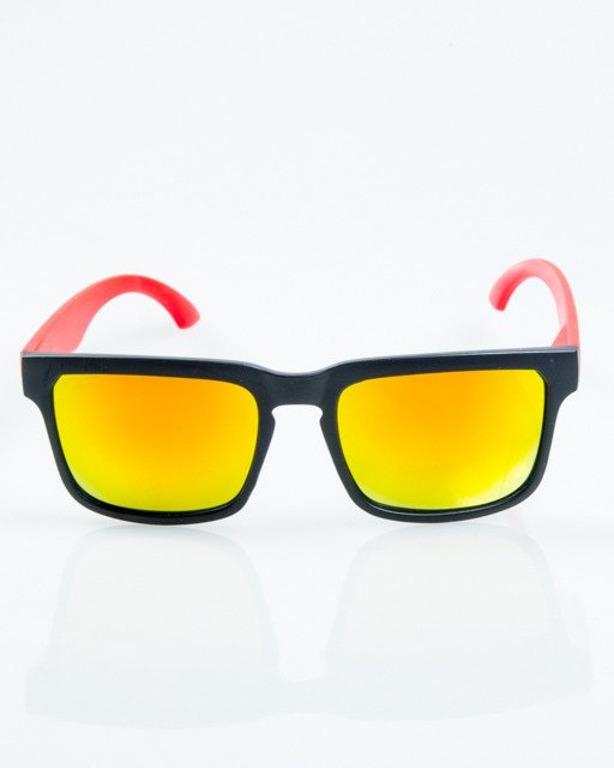 OKULARY CLASSIC MODERN BLACK-RED MAT RED MIRROR 1055