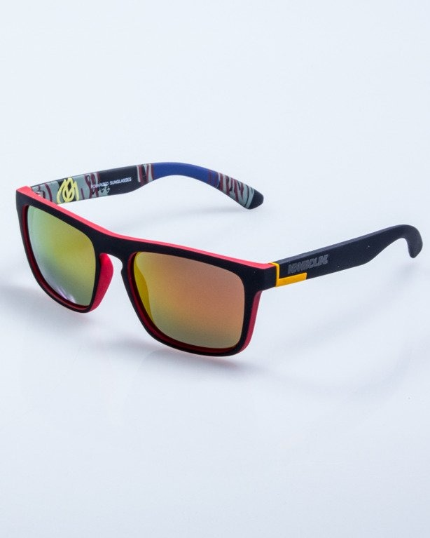 OKULARY COMIX BLACK-RED RUBBER RED MIRROR POLARIZED 534
