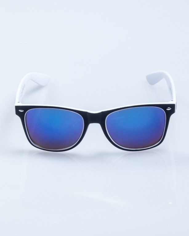 OKULARY INSIDE BLACK-WHITE MAT BLUE MIRROR 566