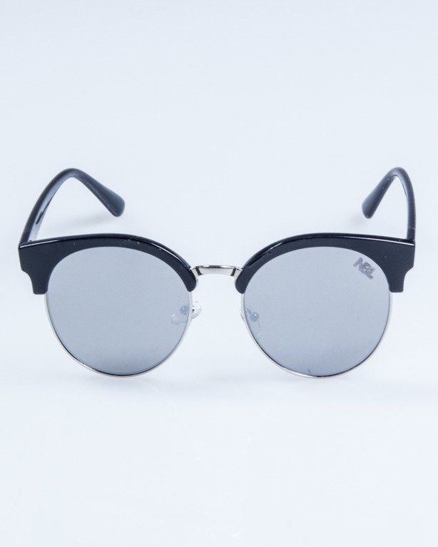OKULARY LADY CAT BLACK GREY MIRROR 732