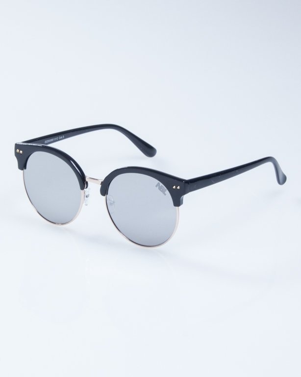 OKULARY LADY WILD BLACK SILVER MIRROR 943