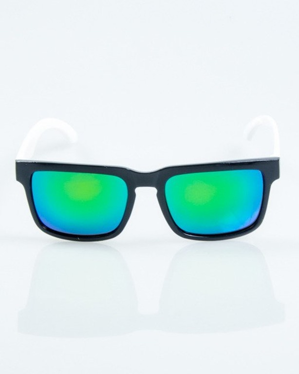 OKULARY MODERN BLACK-WHITE FLASH GREEN MIRROR POLARIZED 1062