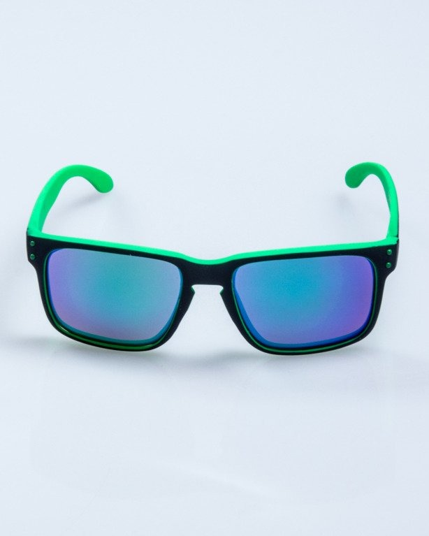 OKULARY POINT BLACK-GREEN RUBBER GREEN MIRROR POLARIZED 523
