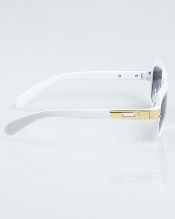 OKULARY RICH WHITE-GOLD METAL FLASH BLACK 1127