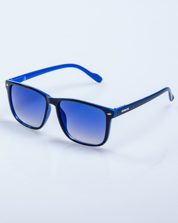 OKULARY SLIM BLACK-BLUE FLASH BLUE MIRROR 600