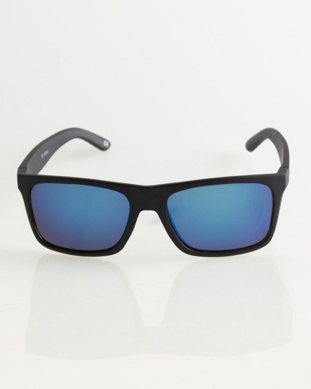 OKULARY SLIM BLACK MAT BLUE MIRROR 026