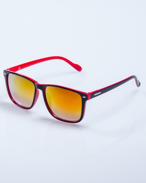 OKULARY SLIM BLACK-RED FLASH RED MIRROR 601