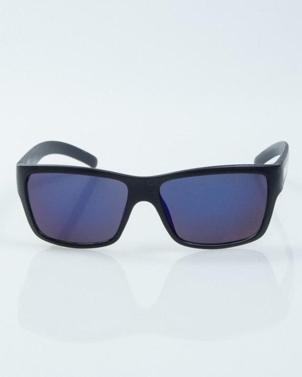 OKULARY SMOOTH BLACK MAT BLUE MIRROR 1004